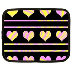 Pink and yellow harts pattern Netbook Case (Large)