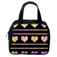 Pink and yellow harts pattern Classic Handbags (One Side)