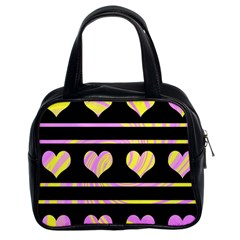 Pink and yellow harts pattern Classic Handbags (2 Sides)