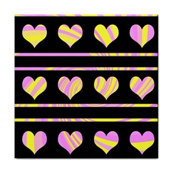 Pink and yellow harts pattern Face Towel