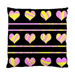 Pink and yellow harts pattern Standard Cushion Case (Two Sides)