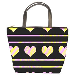 Pink and yellow harts pattern Bucket Bags