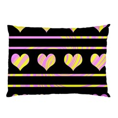 Pink and yellow harts pattern Pillow Case