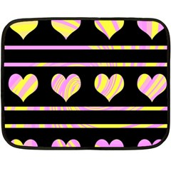 Pink and yellow harts pattern Fleece Blanket (Mini)