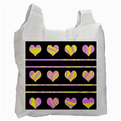Pink and yellow harts pattern Recycle Bag (One Side)