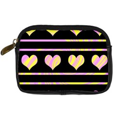 Pink and yellow harts pattern Digital Camera Cases