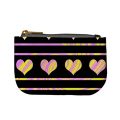 Pink and yellow harts pattern Mini Coin Purses