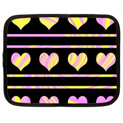 Pink and yellow harts pattern Netbook Case (XXL)
