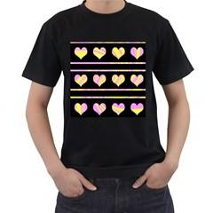 Pink and yellow harts pattern Men s T-Shirt (Black)