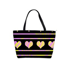 Pink and yellow harts pattern Shoulder Handbags