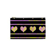 Pink and yellow harts pattern Cosmetic Bag (Small)