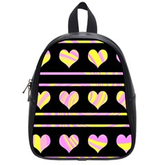 Pink and yellow harts pattern School Bags (Small)