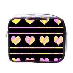 Pink and yellow harts pattern Mini Toiletries Bags