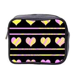 Pink and yellow harts pattern Mini Toiletries Bag 2-Side