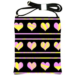 Pink and yellow harts pattern Shoulder Sling Bags