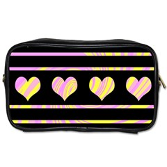 Pink and yellow harts pattern Toiletries Bags
