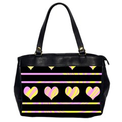 Pink and yellow harts pattern Office Handbags (2 Sides)