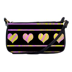 Pink and yellow harts pattern Shoulder Clutch Bags