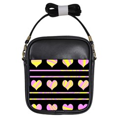 Pink and yellow harts pattern Girls Sling Bags