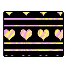 Pink and yellow harts pattern Fleece Blanket (Small)
