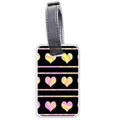 Pink and yellow harts pattern Luggage Tags (One Side)