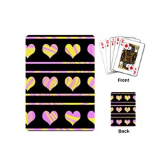 Pink and yellow harts pattern Playing Cards (Mini)