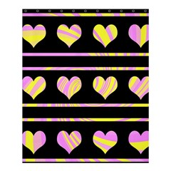 Pink and yellow harts pattern Shower Curtain 60  x 72  (Medium)