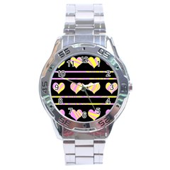 Pink and yellow harts pattern Stainless Steel Analogue Watch