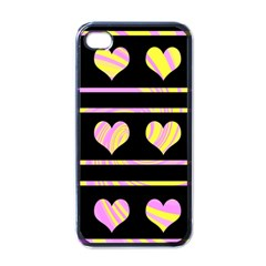 Pink and yellow harts pattern Apple iPhone 4 Case (Black)