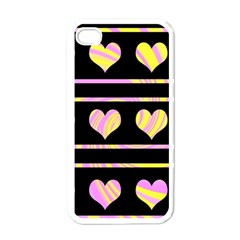 Pink and yellow harts pattern Apple iPhone 4 Case (White)