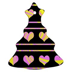 Pink and yellow harts pattern Christmas Tree Ornament (2 Sides)