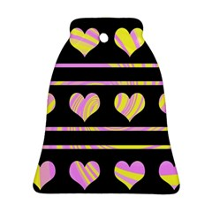 Pink and yellow harts pattern Bell Ornament (2 Sides)