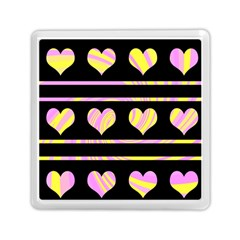 Pink and yellow harts pattern Memory Card Reader (Square)