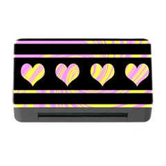 Pink and yellow harts pattern Memory Card Reader with CF