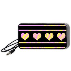 Pink and yellow harts pattern Portable Speaker (Black)