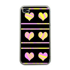 Pink and yellow harts pattern Apple iPhone 4 Case (Clear)