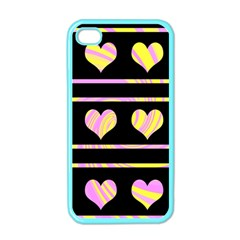 Pink and yellow harts pattern Apple iPhone 4 Case (Color)