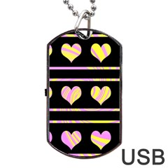 Pink and yellow harts pattern Dog Tag USB Flash (Two Sides)
