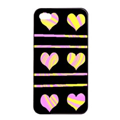 Pink and yellow harts pattern Apple iPhone 4/4s Seamless Case (Black)