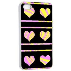 Pink and yellow harts pattern Apple iPhone 4/4s Seamless Case (White)