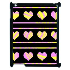 Pink and yellow harts pattern Apple iPad 2 Case (Black)