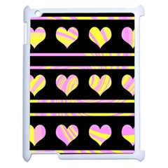 Pink and yellow harts pattern Apple iPad 2 Case (White)
