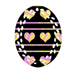 Pink and yellow harts pattern Ornament (Oval Filigree)