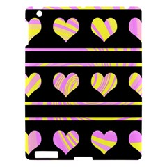 Pink and yellow harts pattern Apple iPad 3/4 Hardshell Case
