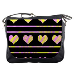 Pink and yellow harts pattern Messenger Bags