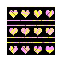 Pink and yellow harts pattern Acrylic Tangram Puzzle (6  x 6 )