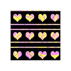 Pink and yellow harts pattern Acrylic Tangram Puzzle (4  x 4 )