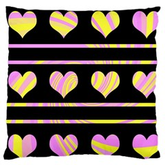 Pink and yellow harts pattern Large Cushion Case (Two Sides)