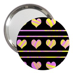 Pink and yellow harts pattern 3  Handbag Mirrors