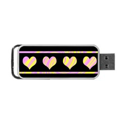 Pink and yellow harts pattern Portable USB Flash (One Side)